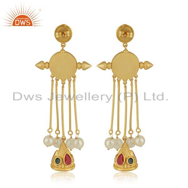 Suppliers Handmade 925 Silver Gold Plated Hand Work Antique Face Earrings Manufacturer