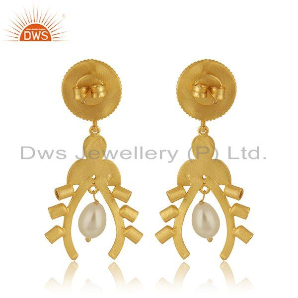 Suppliers Natural Pearl 925 Sterling Silver Gold Plated Dangle Earrings Manufacturer India