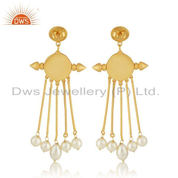 Suppliers Handcrafted Face Design Gold PLated 925 Silver Pearl Earrings Wholesale