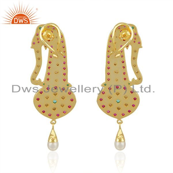 Suppliers CZ and Hydro Gemstone Gold Plated Silver Kundan Earrings Jewelry Supplier