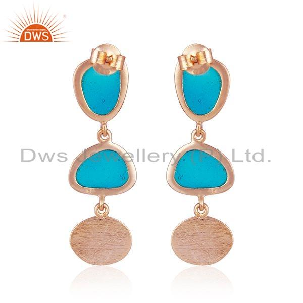 Suppliers Handmade Enamel Design Texture Rose Gold Plated Silver Earring Jewelry