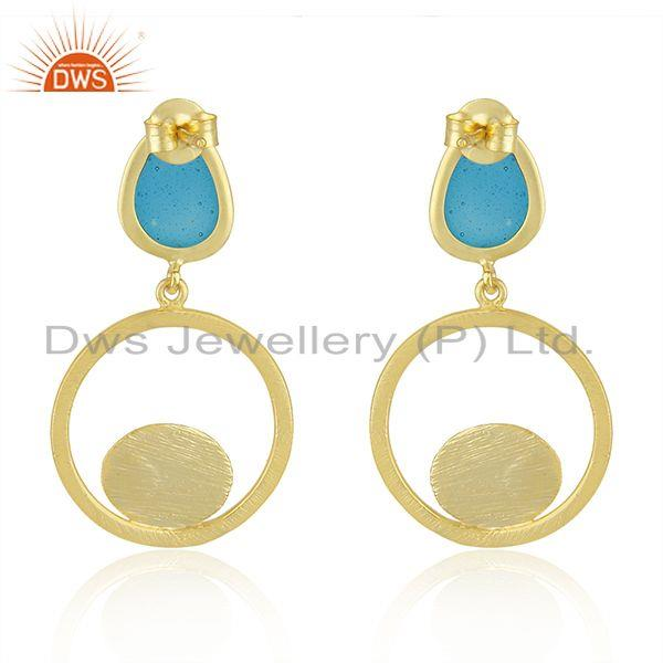 Yellow Gold Plated 925 Silver Dangle Earrings