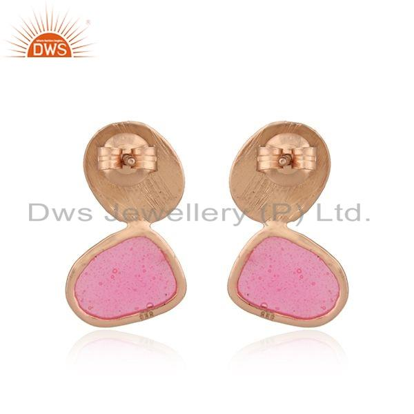 Suppliers 925 Silver Rose Gold Plated Silver Pink Enamel Design Stud Earrings