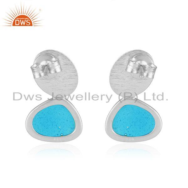 Suppliers Handmade Brushed Finish 925 Sterling Silver Enamel Design Earrings