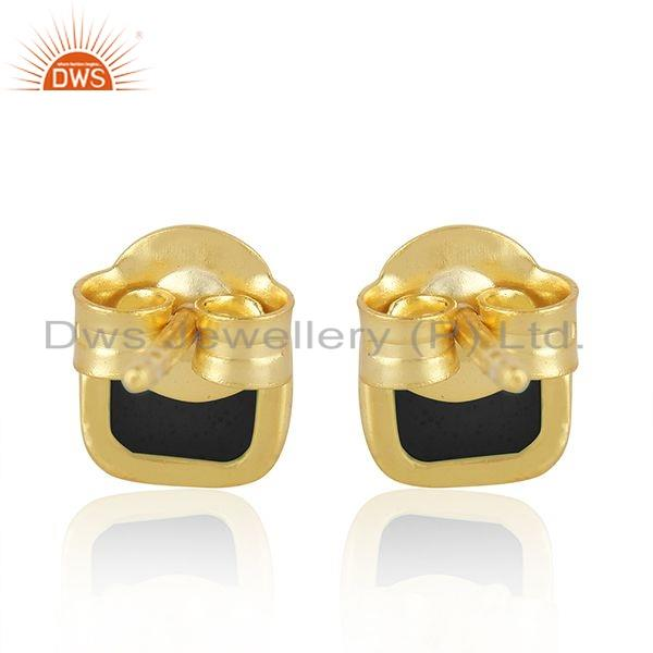 Suppliers Black Enamel Designer 18k Gold Plated 925 Silver Stud Earrings Jewelry