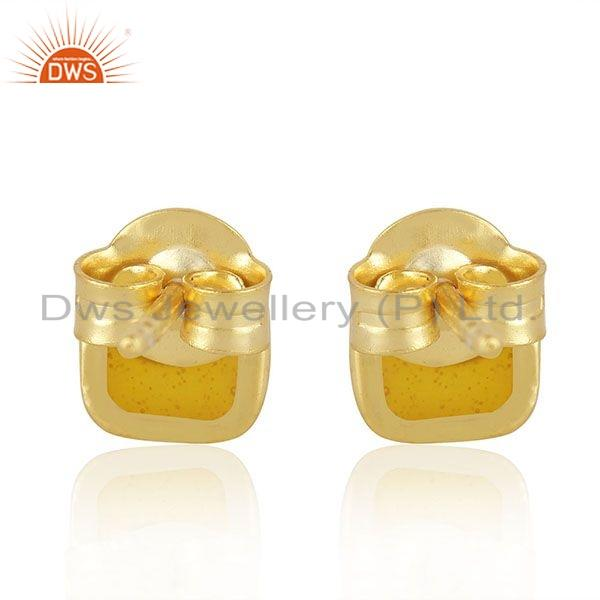 Suppliers Yellow Enamel Gold Plated 925 Silver Stud Earrings Jewelry Manufacture