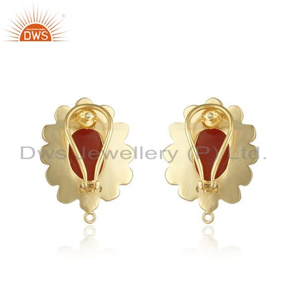 Suppliers Hand Craving Red Onyx Gemstone Gold Plated Stud Earrings Jewelry
