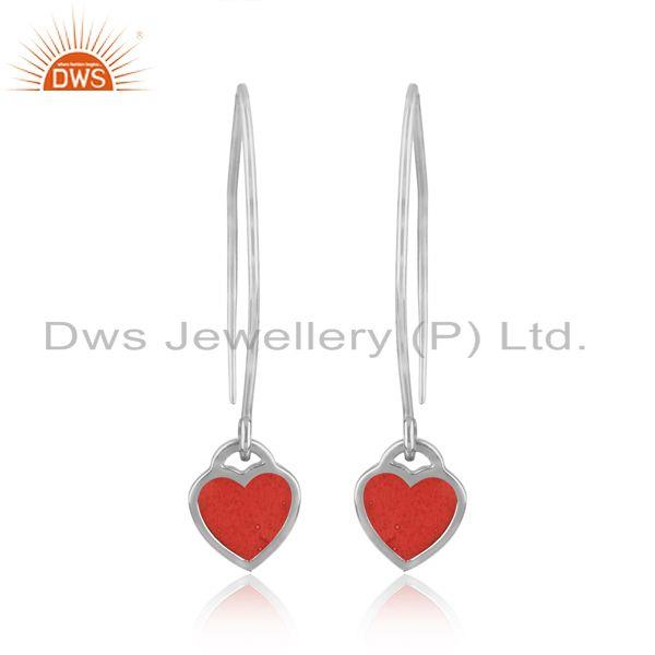 Designer of Dainty dangle earring in fine silver 925 with light red enamel