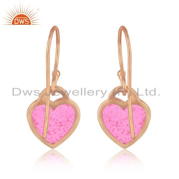 Designer of Heart dangle in rose gold plated silver with light pink enamel