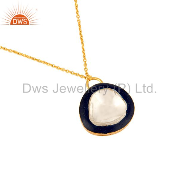 Suppliers 18K Gold Plated Sterling Silver Crystal Polki And Blue Enamel Fashion Necklace