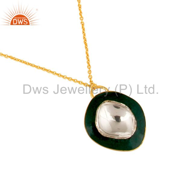 Suppliers 18K Gold Plated Sterling Silver Crystal Polki And Green Enamel Fashion Necklace