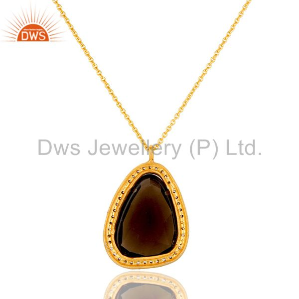 Suppliers CZ Crystal Polki Gold Plated Sterling Silver Victorian Look Pendant With Chain