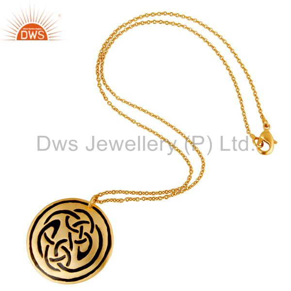 Suppliers 18K Gold Plated Handmade Black Enamel Design Chain Pendant Necklace Jewellery