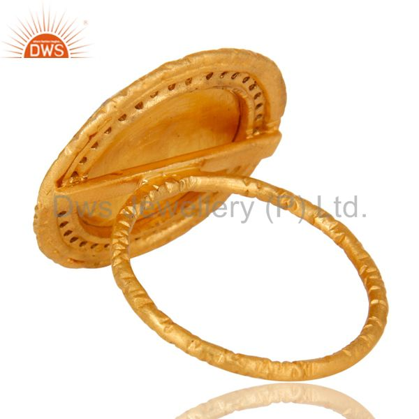 Suppliers 22K Gold Plated Sterling Silver Enamel Design Indian Fashion Cocktail Ring
