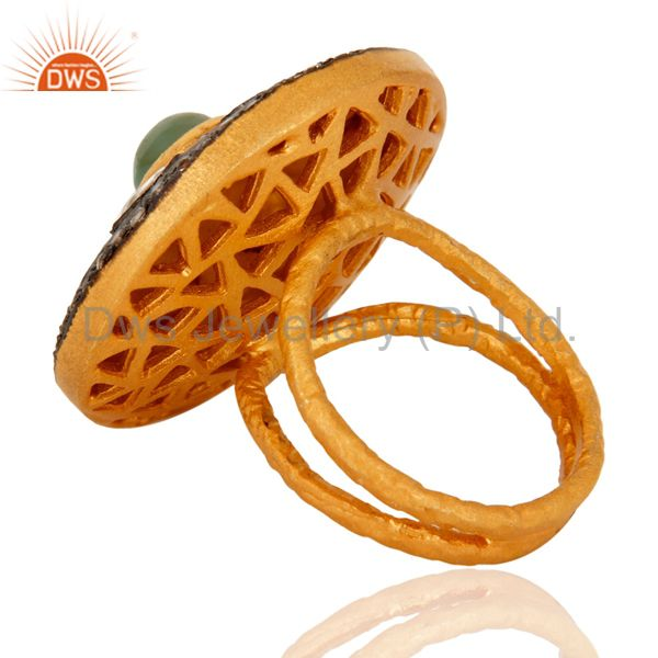 Suppliers Crystal Polki Gold Plated Sterling Silver Emerald Antique Style Cocktail Ring