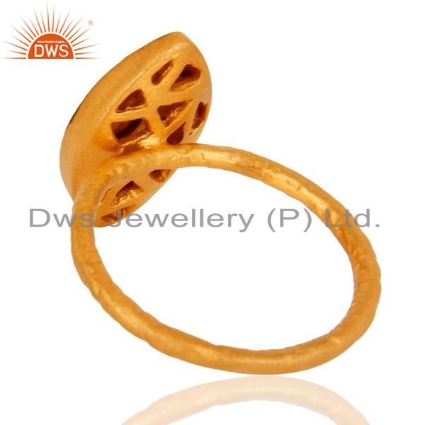 Suppliers 14-karat Yellow Gold Plated Sterling Silver CZ Fashion Statement Ring