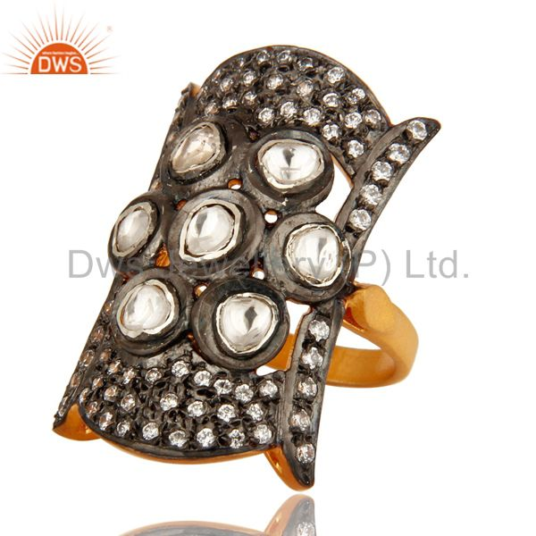 Suppliers 18K Gold Plated Sterling Silver Crystal Quartz Polki Antique Look Ring