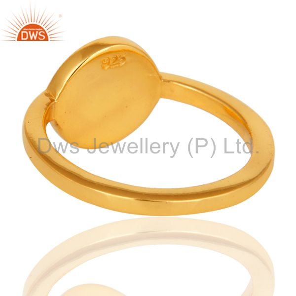 Top Quality 14K Yellow Gold Plated Sterling Silver Black Enamel Stacking Ring