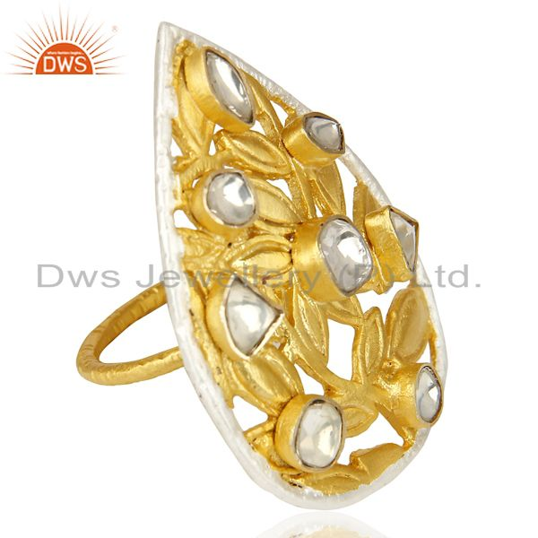 Suppliers Crystal Quartz Stackable 14K Yellow Gold Plated Brass Ring Fashion Jewelry
