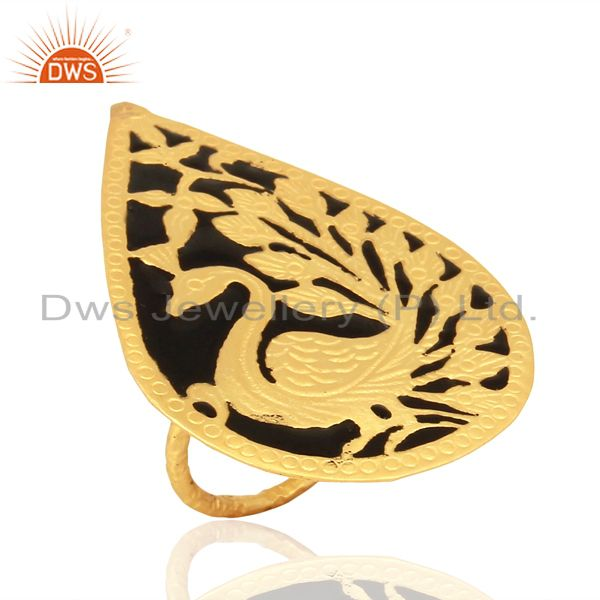 Suppliers Gold Plated Brass Fashion Designer Enamel Ring Jewelry Supplier