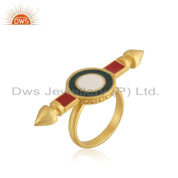 Suppliers Yellow Gold Plated 925 Silver Plain Enamel Ring Jewelry Supplier