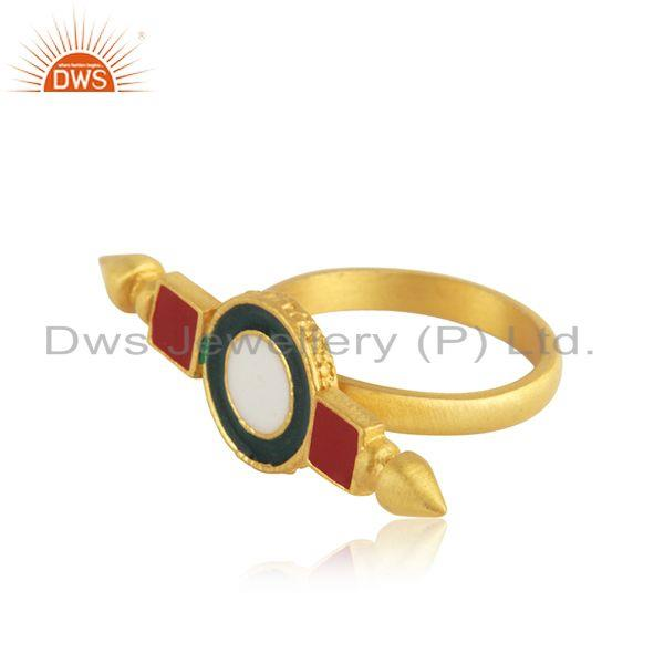 Suppliers Manufacturer Gold Plated Silver Enamel Designer Ring Jewelry