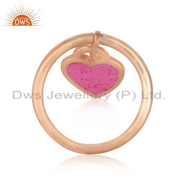 Designer of Pink enamel heart charm dainty ring in rose gold on silver 925