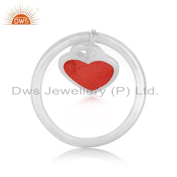 Designer of Red enamel heart charm dainty ring in rhodium over silver 925