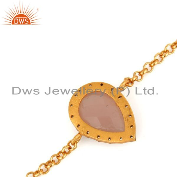 Suppliers Rose Chalcedony Gemstone & CZ 18K Gold Plated 925 Sterling Silver Chain Bracelet