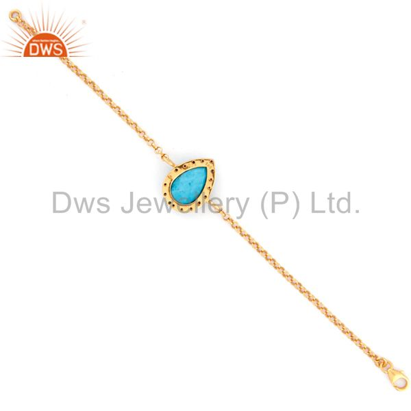 Suppliers Gold Plated Sterling Silver Blue Sapphire & Turquoise Gemstone Chain Bracelets