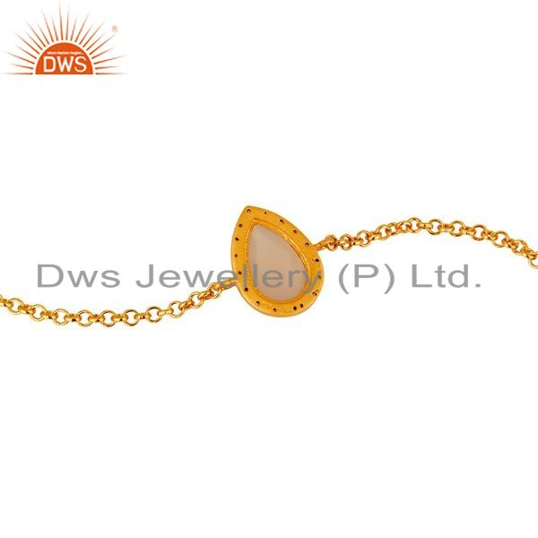 Suppliers 18K Yellow Gold Plated Sterling Silver Rose Chalcedony Chain Bracelet With CZ
