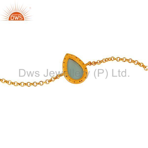 Suppliers 18K Yellow Gold Plated Sterling Silver Aqua Chalcedony Chain Bracelet With CZ