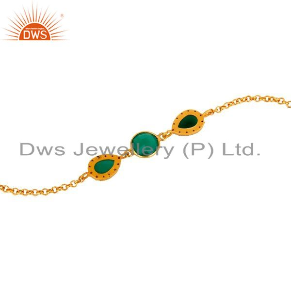 Suppliers 18K Yellow Gold Plated Sterling Silver Green Onyx Chain Bracelet With CZ