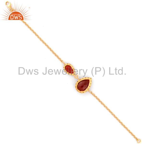 Suppliers Gold Plated 925 Sterling Silver Chain Natural Emerald Gemstone Red Onyx Bracelet