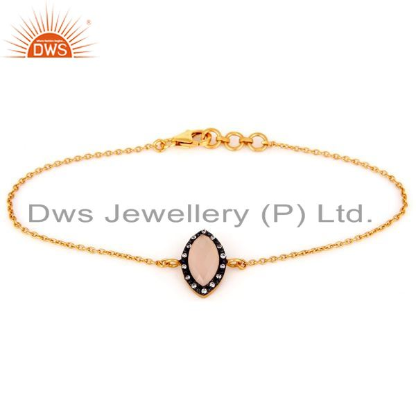 Suppliers Rose Chalcedony Gold Plated Sterling Silver Chain Bracelet With CZ