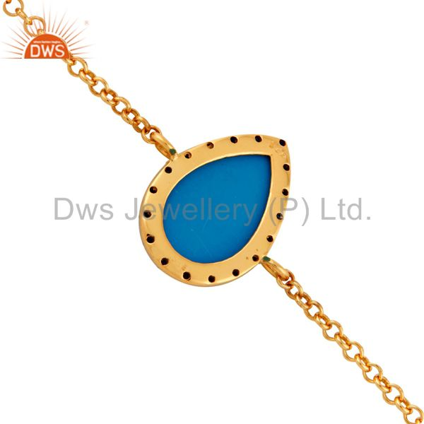 Suppliers 925 Sterling Silver Blue Sapphire & Turquoise Bracelets With Gold Plated