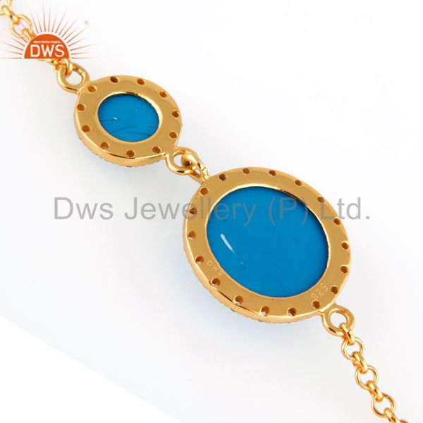 Suppliers 18K Yellow Gold Plated Sterling Silver Turquoise Gemstone Bracelets