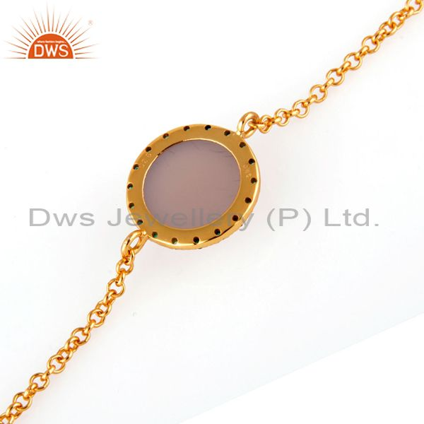 Suppliers Sterling Silver Chalcedony & Emerald Gemstone Chain Link Bracelets With Gold Ver