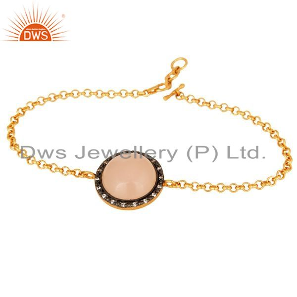 Suppliers 18K Gold Plated Sterling Silver Rose Chalcedony Womens Chain Bracelet