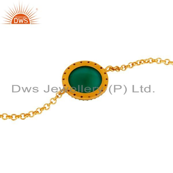Suppliers 18K Gold Plated Sterling Silver Green Onyx Womens Chain Bracelet
