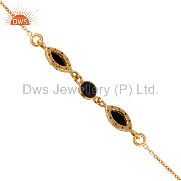 Suppliers Faceted Black Onyx Sterling Silver Bracelet With White Topaz - Gold Plated