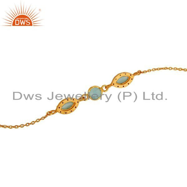 Suppliers 18K Yellow Gold Plated Sterling Silver Aqua Blue Chalcedony Link Chain Bracelet
