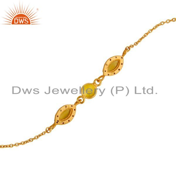 Suppliers 18K Yellow Gold Plated Sterling Silver Moonstone Chalcedony Link Chain Bracelet