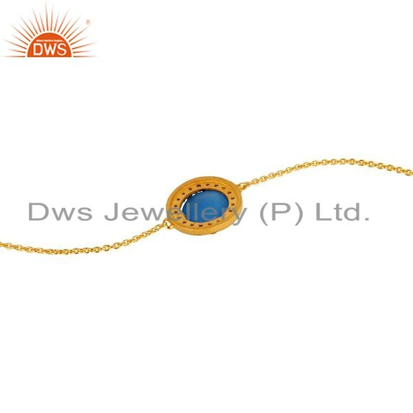 Suppliers 18K Yellow Gold Plated Sterling Silver Chalcedony And CZ Chain Bacelet