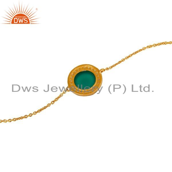 Suppliers 18K Gold Plated Sterling Silver Green Onyx And White Zircon Adjustable Bracelet