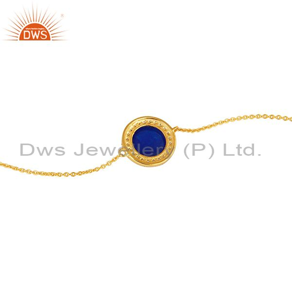 Suppliers 18K Gold Plated Sterling Silver Blue Aventurine And CZ Chain Bracelet
