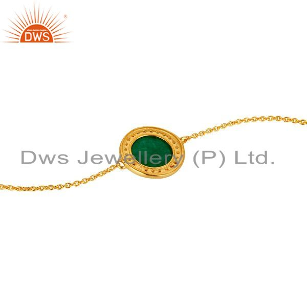 Suppliers 18K Yellow Gold Plated Sterling Silver Green Aventurine Chain Bracelet With CZ