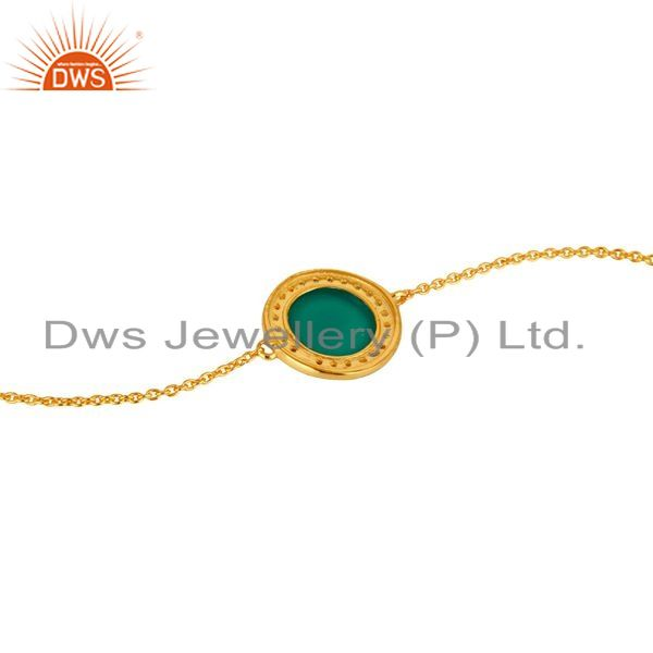 Suppliers 18K Yellow Gold Plated Sterling Silver CZ And Green Onyx Chain Bracelet