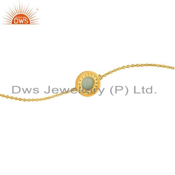 Suppliers 18K Gold Plated Sterling Silver Green Chalcedony And CZ Chain Bracelet