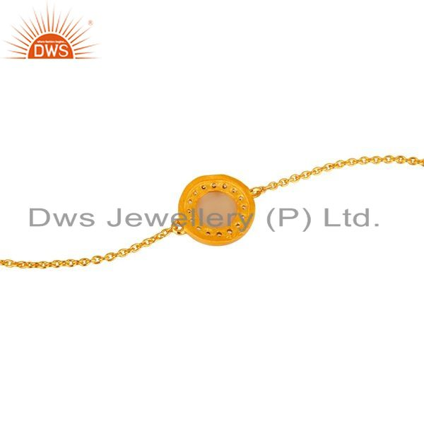 Suppliers 18K Yellow Gold Plated Sterling Silver Rose Chalcedony And CZ Chain Bracelet